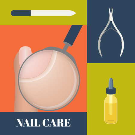 cuticle: Flat icons set of manicure tools- nippers, a nail file and cuticle essential oil. Vector illustration of a magnifier showing cuticle. Concept of healthy nails and cuticle.