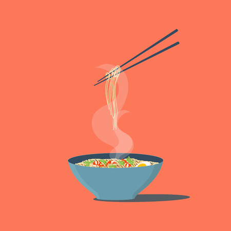 Bowl of noodles with shrimps and parsley. Chopsticks hovering above. Wan mian. Asian noodles. Japanese Chinese noodles. South East Asian cuisine. Isolated vector illustration. Illustration