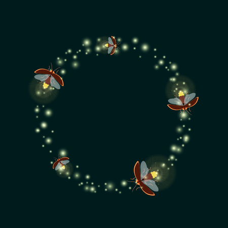 Firefly bugs design template. Flying glowworm beetles. Firefly. Lightning bugs flying in a circle. Vector illustration can be used for greeting cards, flyers, banners, posters and web templates. Stock Vector - 65261807