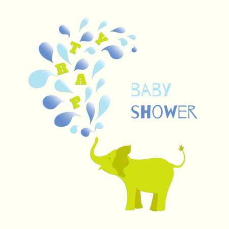 sprinkling: Baby boy shower invitation card design. Baby elephant spraying colourful water drops over itself. Vector illustration for your design. Illustration