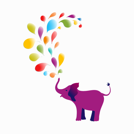 Baby elephant spraying colourful water drops over itself. Its ideal for designing cards, invitations, stickers, tags, and many more. Vector illustration for your design. Illustration