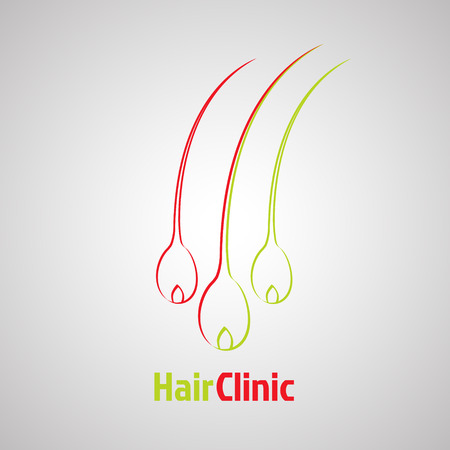 Hair bulb template. Hair loss clinic concept design. Medical diagnostic, care sign. Vector illustration Çizim