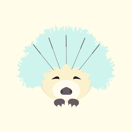 chinese medicine: Cute hedgehog receiving acupuncture treatment on face. Traditional chinese medicine concept. Alternative medicine icon. Vector illustration for your design.