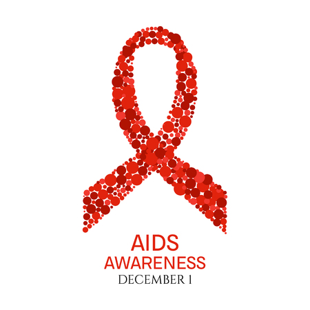aids awareness ribbon: AIDS awareness poster. World AIDS Day symbol. Red ribbon made of dots on white background. Medical concept. Vector illustration.