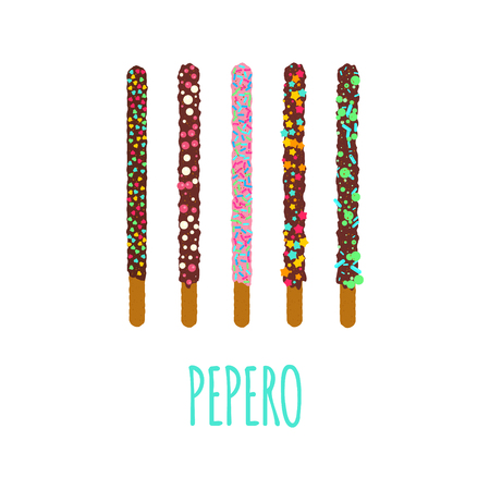 Pepero poster design template with South Korean chocolate sticks. Assorted biscuits covered with chocolate and festive sprinkles on white background. Food vector illustration.