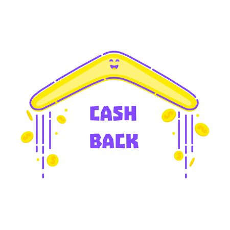 Cash back reward concept. Turning back boomerang with gold dollar coins in the sky. Money rebate design template in cartoon style. illustration. Perfect for credit card companies.