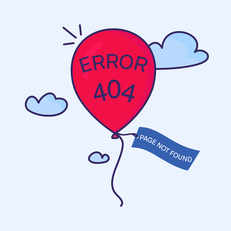 Page not found. 404 error creative design. Red balloon with a tag flying in the sky. Web site design template. Isolated illustration.