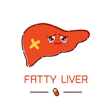 Fatty liver awareness poster with sad cartoon liver character on white background. Human body organs anatomy icon. Human internal organ symbol. Medical concept. illustration.