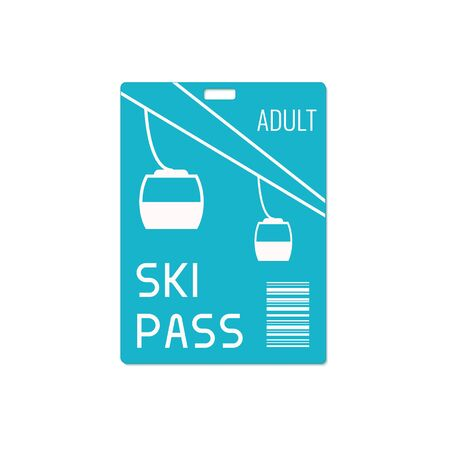 mountain pass: Ski pass design template with lift cable isolated on white background. Ski resort symbol. Winter sport concept. illustration. Illustration