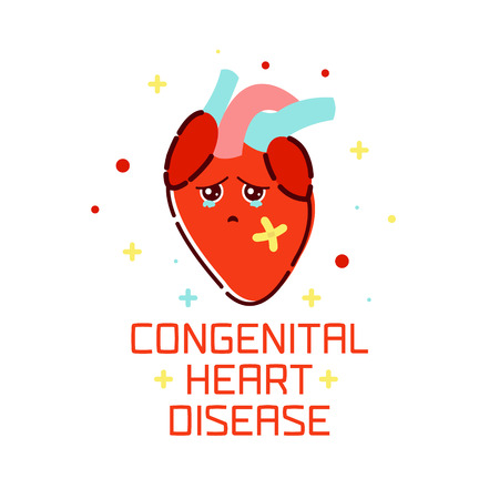 Congenital heart disease awareness poster with sad cartoon heart on white background. Human body organs anatomy icon. Medical concept. Vector illustration. Illustration