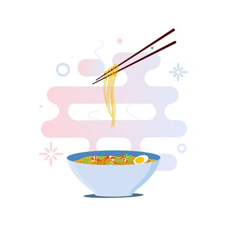thai noodle: Chinese noodles and chopsticks illustration. Bowl of noodles with shrimps, eggs and parsley on white background.