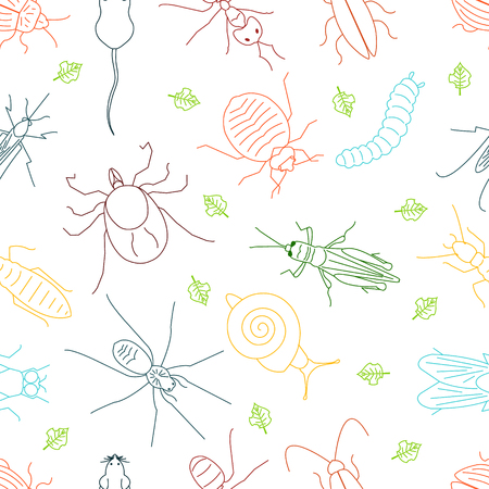 Seamless pattern of pest insects and damaged leaves on white background in linear style. Parasitic beetle concept. Perfect for exterminator service and pest control companies. illustration.
