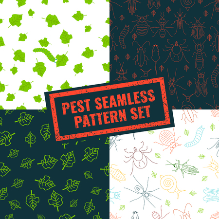 parasitic: Seamless pattern set of pest insects and damaged leaves on black and white backgrounds. Parasitic beetle concept. Perfect for exterminator service and pest control companies. illustration.