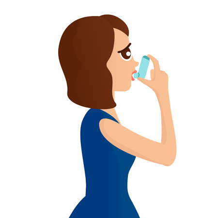 air awareness: Woman using a spray inhaler to stop asthma attack. Asthma design template Bronchial asthma awareness concept. illustration.