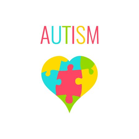 heart puzzle: Autism awareness poster with heart on white background. Heart made of puzzle pieces as symbol of autism. Solidarity and support symbol. Medical concept. Vector illustration. Illustration