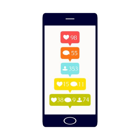 follower: Like, comment and follower icons set. Social media buttons on smartphone display. Notification symbols. Isolated vector illustration.