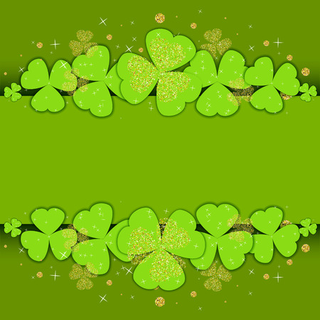 St. Patricks Day poster template with glitter clover and place for your text. Shamrock leaves on green background for party invitations, celebration cards, banners and flyers. Vector illustration.