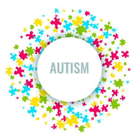 Autism awareness puzzle poster Stock Photo
