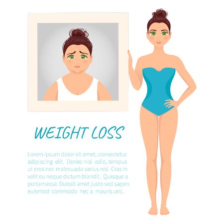 Femme avant et après la perte de poids