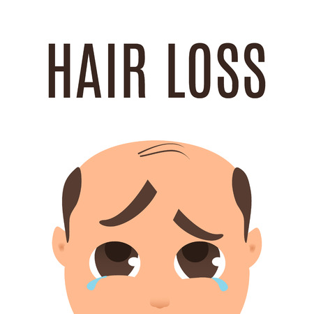 medical drawing: Man with hair loss problem.