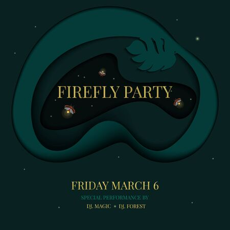 Firefly tropical party invitation