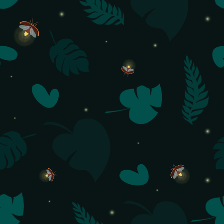 Firefly tropical seamless pattern