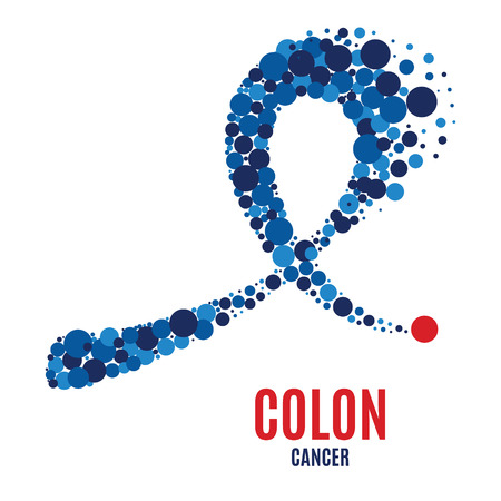 Colon cancer awareness ribbon. Ilustração
