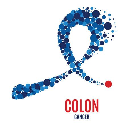 Colon cancer awareness ribbon. Illustration
