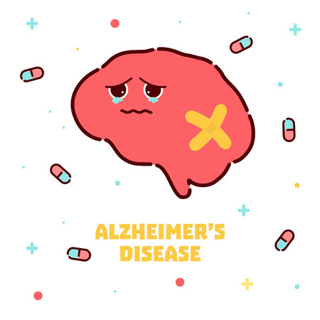 Alzheimers disease cartoon poster Illustration