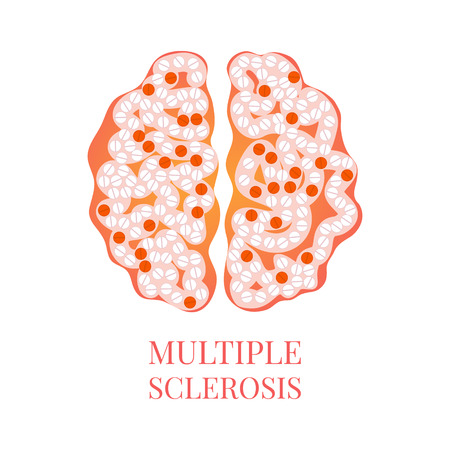 Multiple sclerosis poster with brain Vectores