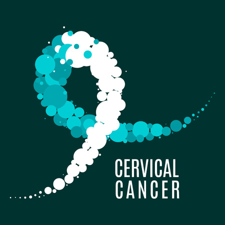 Cervical cancer poster with teal and white ribbon made of dots on dark green background. Ovarian disease symbol for January awareness month. Medical disorder concept. Vector illustration.