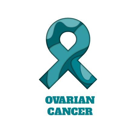 Ovarian cancer awareness  paper cut ribbon  illustration.