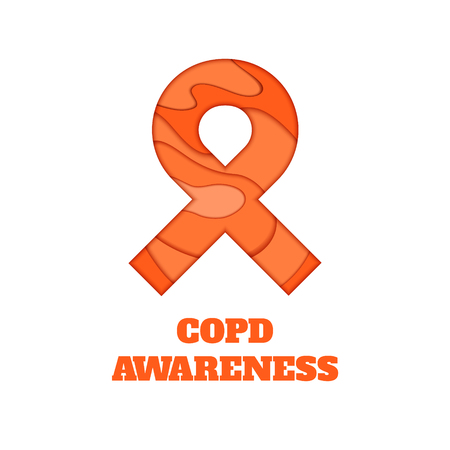 COPD awareness poster. Orange ribbon made in 3D paper cut and craft style on white background. Chronic obstructive pulmonary disease symbol. Medical concept. Vector illustration. Illustration
