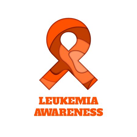 Leukemia awareness poster. Orange ribbon made in 3D paper cut and craft style on white background. Medical concept. Vector illustration.