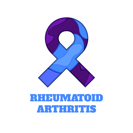Rheumatoid arthritis awareness poster. Blue and purple ribbon made in 3D paper cut and craft style on white background. Medical concept. Vector illustration.