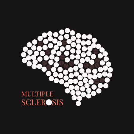 Multiple sclerosis awareness poster with brain made of pills on black background. MS awareness sign. Side view. Medical solidarity day concept. Vector illustration.