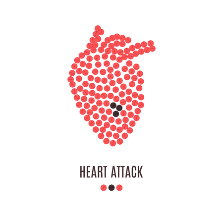 Heart attack awareness poster with heart made of red pills on white background.