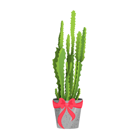 Cactus with a ribbon icon.