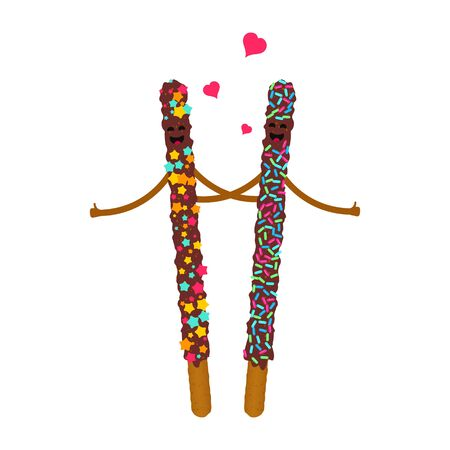 Stick biscuits with heart, valentines day poster illustration.