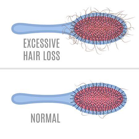 Hair brush - normal versus hair loss illustration.