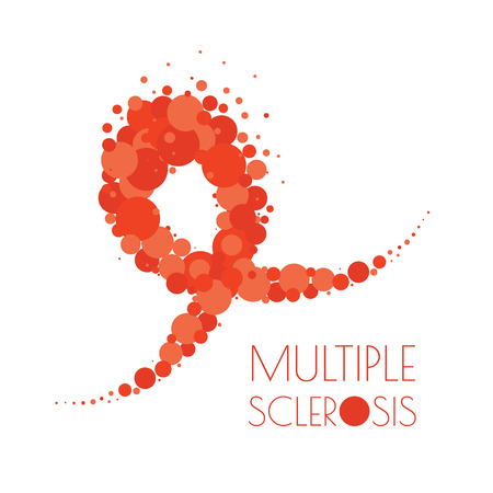 Multiple sclerosis dotted ribbon illustration on white background.