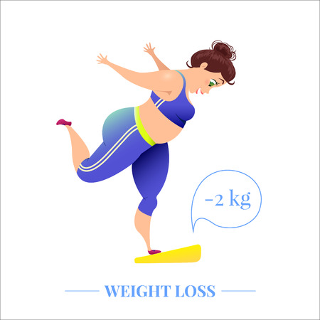Weightloss poster with a woman on scales Vectores