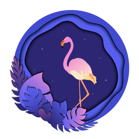 Flamingo in tropical leaves. Illustration