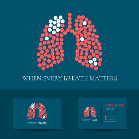 Lungs business card template Vector illustration. Vectores