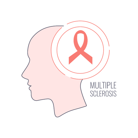 Multiple sclerosis ribbon outline style poster Vector illustration. Illustration