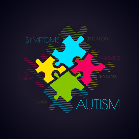 Autism awareness poster with puzzle pieces and word cloud on black background. Social interaction and communication disorder. Solidarity and support symbol. Medical concept. Vector illustration.