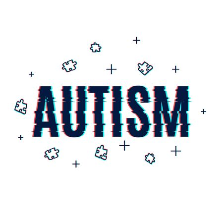 Autism awareness poster made with glitch noise pixel effect on white background. Social interaction and communication disorder. Solidarity and support symbol. Medical concept. Vector illustration.