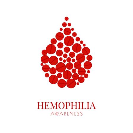 Hemophilia poster with pills drop Illustration