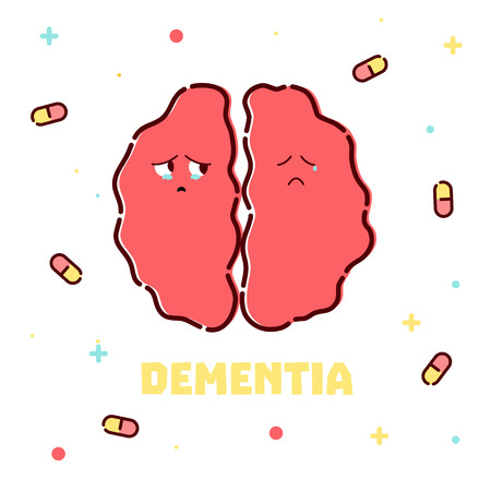 Dementia disease poster with pills on white background. Unhealthy sad brain icon in cartoon style.   Medical vector illustration.