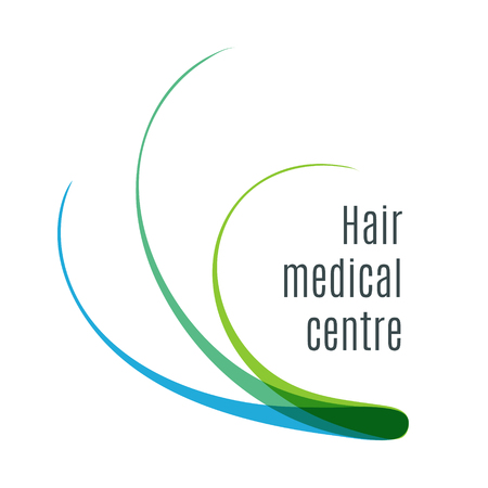 Hair medical center icon with colorful hair strand